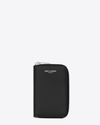 SAINT LAURENT Saint Laurent Paris SLG U Classic SAINT LAURENT PARIS Zipped Key Case in Black Grain De Poudre Textured Leather f