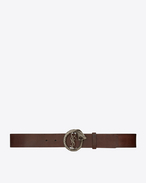 SAINT LAURENT Classic Belts U MONOGRAM SAINT LAURENT Serpent Buckle Belt in Vintage Brown Leather and Brushed Silver-Toned Metal f