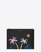 SAINT LAURENT Saint Laurent Paris SLG U SAINT LAURENT PARIS Sea, Sex & Sun Zipped Tablet Holder in Black Leather and Multicolor Glitter f