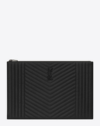 SAINT LAURENT Monogram SLG U MONOGRAM SAINT LAURENT Zipped Document Holder in Black Mixed Matelassé f