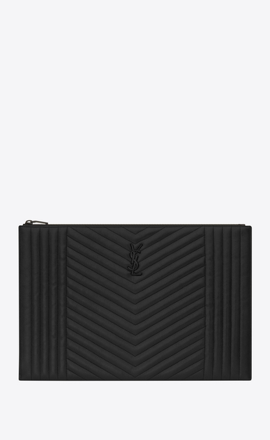 SAINT LAURENT Monogram SLG U monogram zipped document holder in black mixed matelassé a_V4
