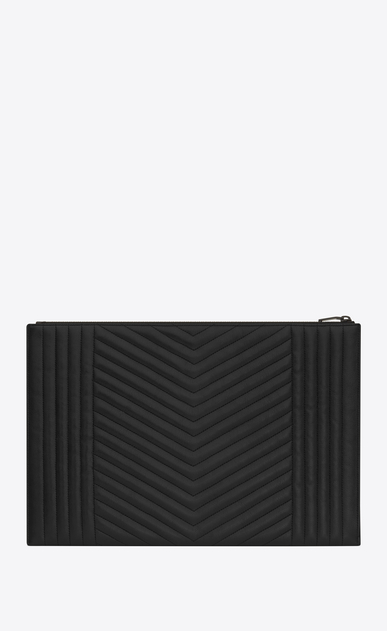 SAINT LAURENT Monogram SLG U monogram zipped document holder in black mixed matelassé b_V4