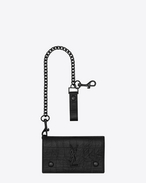 SAINT LAURENT Monogram SLG U MONOGRAM SAINT LAURENT Chain Wallet in Black Crocodile Embossed Leather f