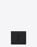 SAINT LAURENT Monogram SLG U MONOGRAM SAINT LAURENT East/West Wallet in Black Crocodile Embossed Leather f