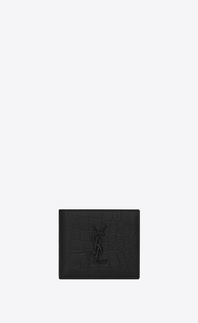 SAINT LAURENT Monogram SLG Man monogram East/West wallet in stamped crocodile leather a_V4