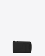SAINT LAURENT Saint Laurent Paris SLG U Classic FRAGMENTS Zip Key Case in Black Leather and Black Shiny Trim f