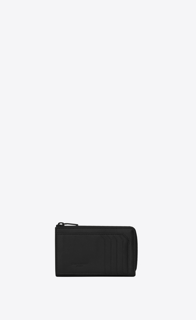 SAINT LAURENT Fragments Small Leather Goods U Classic FRAGMENTS Zip Key Case in Black Leather and Black Shiny Trim a_V4