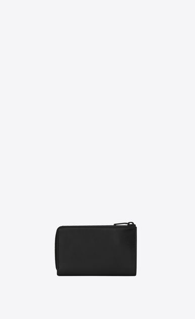 SAINT LAURENT Fragments Small Leather Goods U Classic FRAGMENTS Zip Key Case in Black Leather and Black Shiny Trim b_V4
