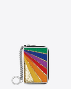 SAINT LAURENT Saint Laurent Paris SLG U SAINT LAURENT PARIS Rainbow Patch Key Ring Coin Pouch in Black Leather and Multicolor Cotton f