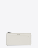SAINT LAURENT Fragments Small Leather Goods U Classic FRAGMENTS Zip Around Wallet in Dove White Leather and Black Shiny Trim f