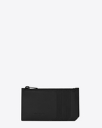 SAINT LAURENT Fragments Small Leather Goods U Classic FRAGMENTS Zip Pouch in Black Leather and Black Shiny Trim f