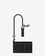 SAINT LAURENT Monogram SLG U monogram chain wallet in black mixed matelassé leather f