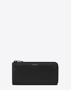 SAINT LAURENT Saint Laurent Paris SLG U Classic FRAGMENTS Zip Around Wallet in Black Leather and Black Shiny Trim f