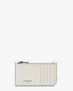 SAINT LAURENT Fragments Lederwaren U Classic FRAGMENTS Zip Pouch in Dove White Leather and Black Shiny Trim f