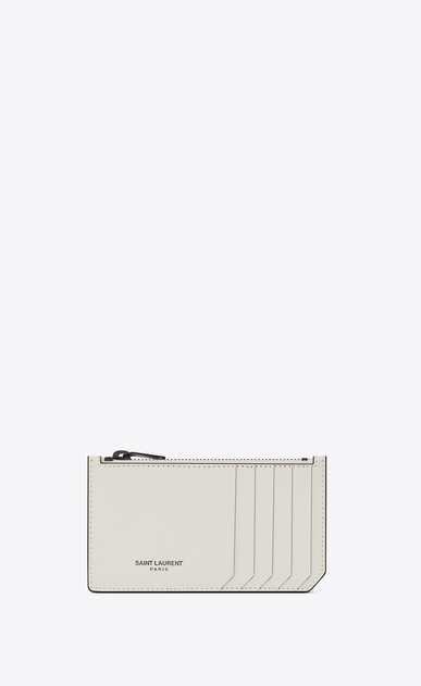 SAINT LAURENT Fragments Small Leather Goods U Classic FRAGMENTS Zip Pouch in Dove White Leather and Black Shiny Trim v4