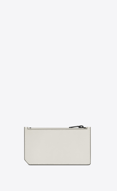 SAINT LAURENT Fragments Small Leather Goods U Classic FRAGMENTS Zip Pouch in Dove White Leather and Black Shiny Trim b_V4