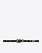 SAINT LAURENT Skinny Belts U WESTERN CALIFORNIA Belt in Black Leather, Silver Metallic Leather and Brushed Silver-Toned Metal f