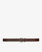 SAINT LAURENT Classic Belts U monogram serpent round buckle belt in vintage brown leather and brushed silver-toned metal f