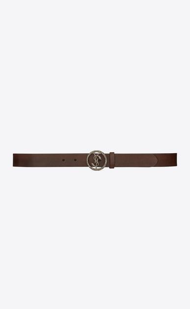 SAINT LAURENT Classic Belts U monogram serpent round buckle belt in vintage brown leather and brushed silver-toned metal v4
