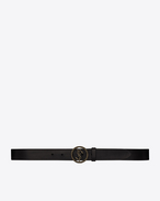 SAINT LAURENT Classic Belts U monogram serpent round buckle belt in black leather and ultrablack metal f