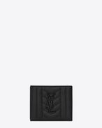 monogram east/west wallet in black mixed matelassé leather