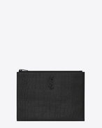 SAINT LAURENT Monogram SLG U MONOGRAM SAINT LAURENT Zipped Tablet Holder in Black Crocodile Embossed Leather f