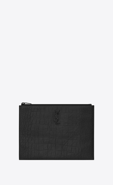 SAINT LAURENT Monogram SLG E custodia per tablet con zip nera in coccodrillo stampato a_V4
