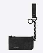 SAINT LAURENT Saint Laurent Paris SLG U Pochette zippée à anneau porte-clés Fragments SAINT LAURENT PARIS en cuir embossé façon crocodile noir f