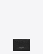 SAINT LAURENT Saint Laurent Paris SLG U SAINT LAURENT PARIS Tiny Wallet in Black Crocodile Embossed Leather f
