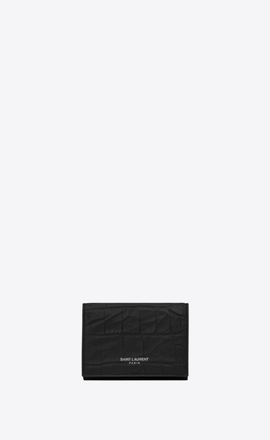 SAINT LAURENT Saint Laurent Paris SLG U Winziges Saint Laurent Paris Portemonnaie aus schwarzem Leder mit Krokodilprägung a_V4