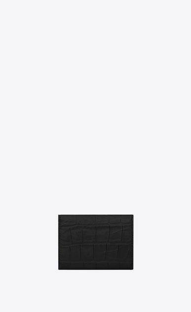 SAINT LAURENT Saint Laurent Paris SLG U Winziges Saint Laurent Paris Portemonnaie aus schwarzem Leder mit Krokodilprägung b_V4