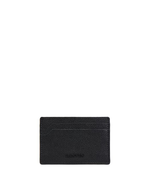 lanvin grained calfskin flat card holder  men