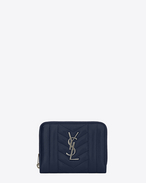 SAINT LAURENT Monogram Mix Matelassé D monogram compact zip around wallet in navy blue mixed matellasé leather f