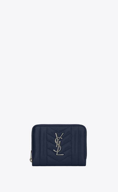 SAINT LAURENT Monogram Mix Matelassé D monogram compact zip around wallet in navy blue mixed matellasé leather a_V4