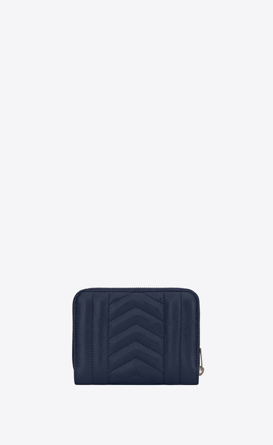 SAINT LAURENT Monogram Mix Matelassé D monogram compact zip around wallet in navy blue mixed matellasé leather b_V4