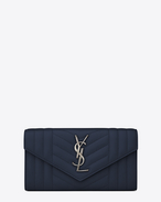 SAINT LAURENT Monogram Mix Matelassé D portafogli large monogram con patta blu navy in pelle mista matelassé f