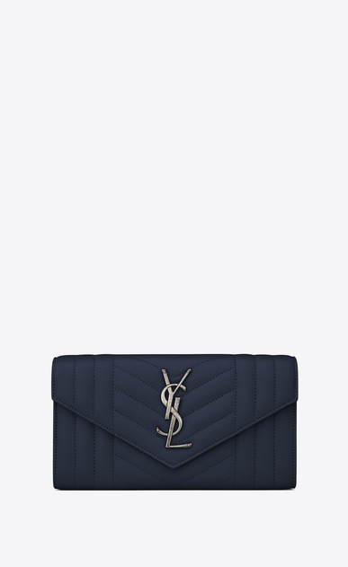 SAINT LAURENT Monogram Mix Matelassé D large monogram flap wallet in navy blue mixed matelassé leather a_V4