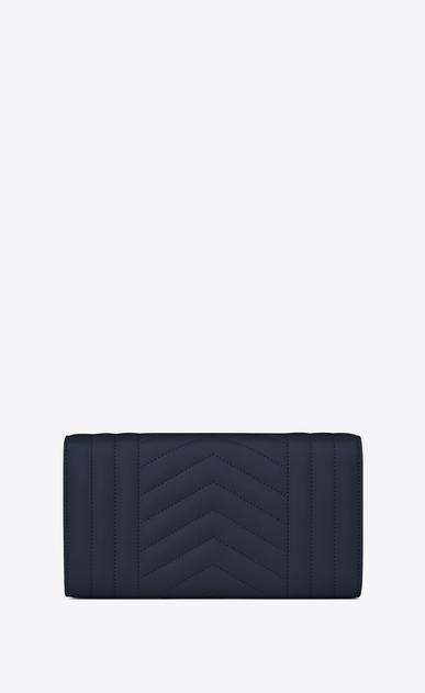 SAINT LAURENT Monogram Mix Matelassé D large monogram flap wallet in navy blue mixed matelassé leather b_V4