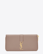SAINT LAURENT YSL line D ysl zip around wallet in rose leather f