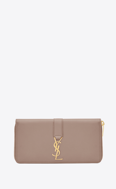 SAINT LAURENT YSL line D ysl zip around wallet in rose leather a_V4