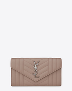 SAINT LAURENT Monogram Mix Matelassé D Large MONOGRAM SAINT LAURENT Flap Wallet in rose mixed matelassé leather f