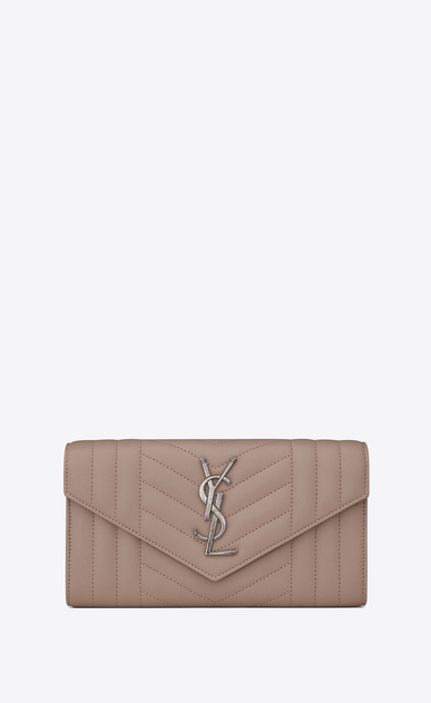 SAINT LAURENT Monogram Mix Matelassé D large monogram flap wallet in rose mixed matelassé leather a_V4