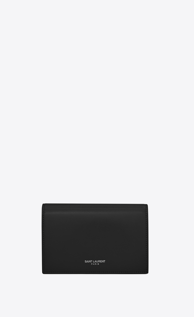 SAINT LAURENT Fragments Small Leather Goods D fragments flap wallet in black leather v4