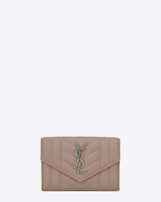 SAINT LAURENT Monogram Mix Matelassé D portafogli small monogram envelope rosa in pelle mista matelassé f