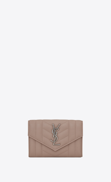 SAINT LAURENT Monogram Mix Matelassé D small monogram envelope wallet in rose mixed matelassé leather a_V4