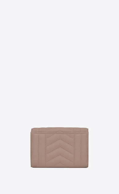 SAINT LAURENT Monogram Mix Matelassé D small monogram envelope wallet in rose mixed matelassé leather b_V4