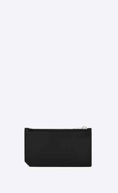 SAINT LAURENT Fragments Small Leather Goods D fragments zip pouch in black leather b_V4