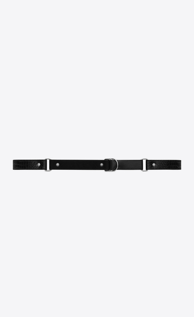 SAINT LAURENT Skinny Belts Woman HARNESS Belt in Black Leather, Crocodile Embossed Glossy Leather and Suede a_V4