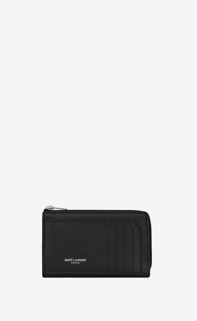 SAINT LAURENT Fragments Small Leather Goods Woman fragments zip pouch with key ring in black leather a_V4