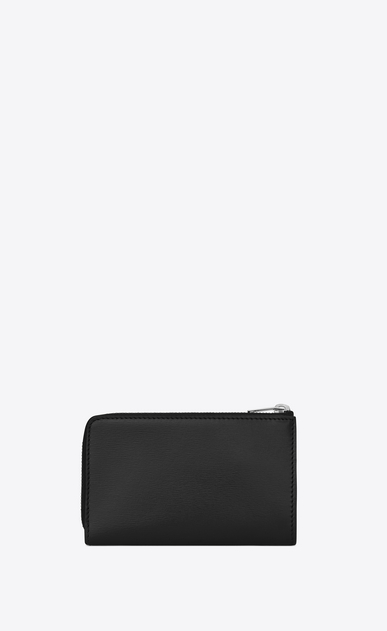SAINT LAURENT Fragments Small Leather Goods Woman fragments zip pouch with key ring in black leather b_V4